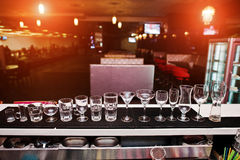 Set of collection cup glasses for bar drinks Stock Images