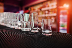 Set of collection cup glasses for bar drinks Stock Photos