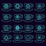 Set of collection cups with mandalas Royalty Free Stock Images