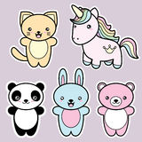 Set collection of cute kawaii style happy smiling animals. stock illustration