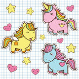 Set collection of cute kawaii style horses. Royalty Free Stock Image