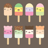 Set collection of cute kawaii style ice cream Stock Image