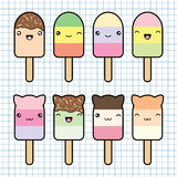 Set collection of cute kawaii style ice cream royalty free illustration
