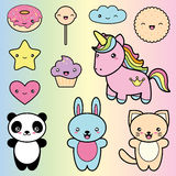 Set collection of cute kawaii style labels. Royalty Free Stock Photos