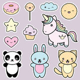 Set collection of cute kawaii style labels. Royalty Free Stock Image