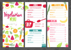 Set collection design template vertical vegetarian menu. Corporate identity menu for cafe or restaurant. Brochure with Stock Images