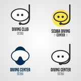Set, collection of diving, snorkeling vector icons, sign, symbol, emblem, logo. Template graphic design elements with snorkel tune, mask for diving club Royalty Free Stock Image