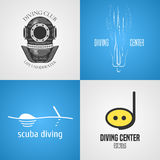 Set, collection of diving, snorkeling vector icons, sign, symbol. Emblem, logo. Template graphic design elements with snorkel tune, mask for diving club. Navy Stock Image