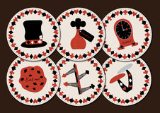 Set collection of drink coasters from Wonderland. Hatter hat, drink me, eat me, clocks, direction signs, mushroom. Printable Vector Illustration for Graphic Royalty Free Stock Image