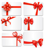 Set Collection of Festive Cards with Bows  on White. Background Stock Image