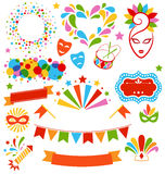 Set Collection of Festive Colorful Carnival Masquerade Icons Iso Stock Photography