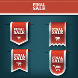 Set, collection of Final sale red ribbon vector tag icon for product promotion and shopping. Bookmark 3d design  Stock Photos