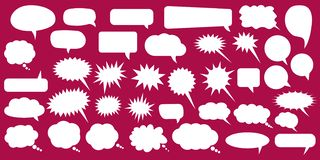 Set, collection of flat style vector speech bubbles, clouds, baloons. Talking, speaking, chatting, screaming, laughing, thinking. Dreaming bubbles. Modern royalty free illustration