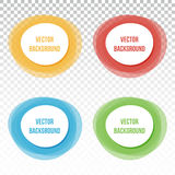Set, collection of four colorful banners, buttons, frames, round design elements on transparent background Royalty Free Stock Photo