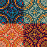 Set collection of four same colorful ethnic seamless patterns. Stock Photo