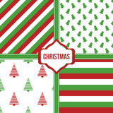 Set, collection of four simple modern colorful christmas pattern backgrounds Stock Photos
