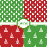 Set, collection of four simple modern colorful christmas trees seamless pattern backgrounds Royalty Free Stock Photo