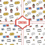 Set, collection of four simple modern colorful cinema, movie seamless patterns.  Royalty Free Stock Photography