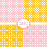 Set, collection of four simple modern polka dot and cross seamless pattern backgrounds Stock Photography
