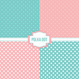Set, collection of four simple modern polka dot seamless pattern backgrounds Stock Photos
