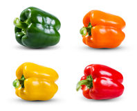 Set Collection of Fresh vegetable, Green, Yellow, Red and Orange Peppers isolated on a white background Royalty Free Stock Photos