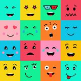 Set collection of 16 funny emotion emoji faces. Various faces on colorful background royalty free illustration