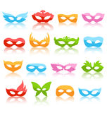 Set Collection of Glassy Colorful Carnival Masquerade Masks. With Reflection Icons Isolated on White Background Royalty Free Stock Image