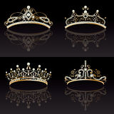 Set collection of golden tiaras Royalty Free Stock Images