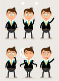 Set, collection, group of businessman characters Royalty Free Stock Photography