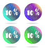 Set, collection, group of four isolated, flat. Group of four colorful buttons with 10 percent discount Stock Image