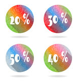 Set, collection, group of four isolated, flat. Group of four colorful buttons with 20, 30, 40, 50 percent discount vector illustration