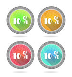 Set, collection, group of four, round, isolated. Group of four colorful buttons with 10 percent discount Royalty Free Stock Photos