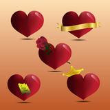 Set/collection of heart Stock Photography