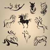 Set from the collection of horses. Stylized set of horses in different poses Stock Images