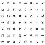 Set or collection of icons for web design. Set of icons with mouse and alarm clock, gps pointer, notebook or laptop, house and balloon, bar and linear graph,3d Royalty Free Stock Photo