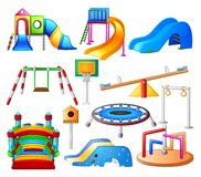 Set collection Kids playground, city park set. Illustration of  Set collection Kids playground, city park set Royalty Free Stock Photo