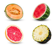Set Collection of Melon, watermelon, Pineapple and grapefruit slices. isolated on white background Stock Photo