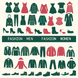 Set with collection of men and women clothing  - Illustration Stock Photography