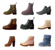Set of collection of modern stylish casual shoes of different shapes royalty free illustration