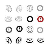 Set of Collection modern vector. Compass icon multi type of 3d i. Sometric, solid, line, scribble hatch, doodle, shadow isometric and a little colour on white Stock Images