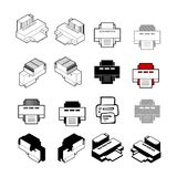 Set of Collection modern vector. Printer icon multi type of 3d i. Sometric, solid, line, scribble hatch, doodle, shadow isometric and a little colour on white Stock Photography