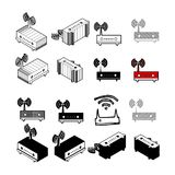Set of Collection modern vector. router icon multi type of 3d is. Ometric, solid, line, scribble hatch, doodle, shadow isometric and a little colour on white Stock Illustration