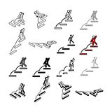Set of Collection modern vector. Step People icon multi type of. 3d isometric, solid, line, scribble hatch, doodle, shadow isometric and a little colour on Stock Photos