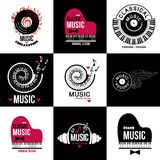 Set Collection of music logos and emblems. Stock Images