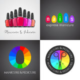 Set, collection of nails salon, nails art vector logo, icon Royalty Free Stock Photos