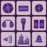Set collection of nine purple music icons Royalty Free Stock Photo