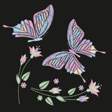 Set Collection Of Butterflies And Flowers Isolated On Dark Background. Vector Illustration. . Embroidery Elements For Patches, Bad Royalty Free Stock Photos