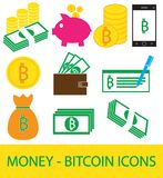 Set, collection or pack of Bitcoin crypto currency icon, logo or . Coins, notes or bills, cell or mobile phone, wallet or check. Symbol for bank or banking on Royalty Free Stock Image