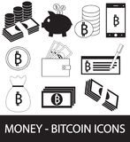 Set, collection or pack of Bitcoin crypto currency icon, logo or . Coins, notes or bills, cell or mobile phone, wallet or check. Symbol for bank or banking on Stock Photos