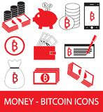 Set, collection or pack of Bitcoin crypto currency icon, logo or . Coins, notes or bills, cell or mobile phone, wallet or check. Symbol for bank or banking on Stock Image